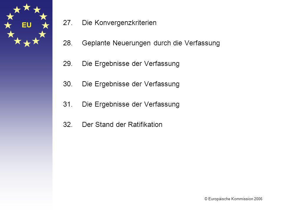 EU © Europäische Kommission 2006 27.Die Konvergenzkriterien 28.Geplante Neuerungen durch die Verfassung 29.Die Ergebnisse der Verfassung 30.Die Ergebn