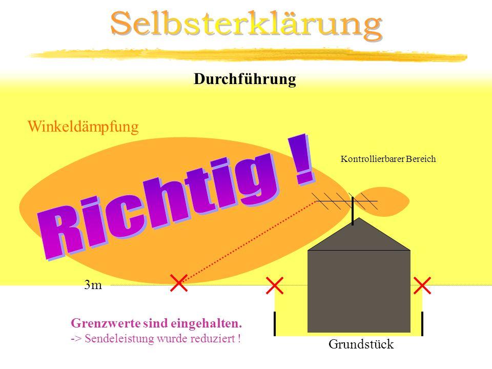 Kontrollierbarer Bereich Durchführung Winkeldämpfung 3m Grenzwerte sind eingehalten. -> Sendeleistung wurde reduziert ! Grundstück