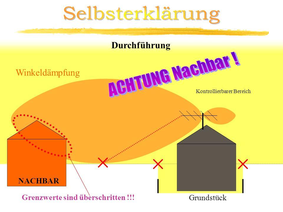 Kontrollierbarer Bereich Durchführung Winkeldämpfung 3m NACHBAR Grenzwerte sind überschritten !!! Grundstück