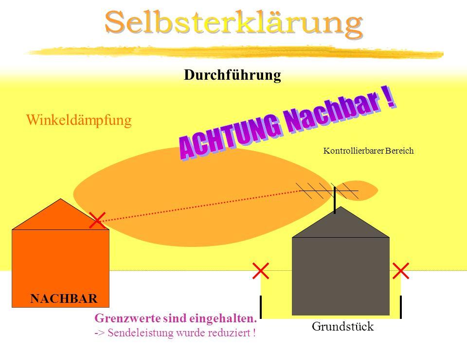Kontrollierbarer Bereich Durchführung Winkeldämpfung 3m NACHBAR Grenzwerte sind eingehalten. -> Sendeleistung wurde reduziert ! Grundstück