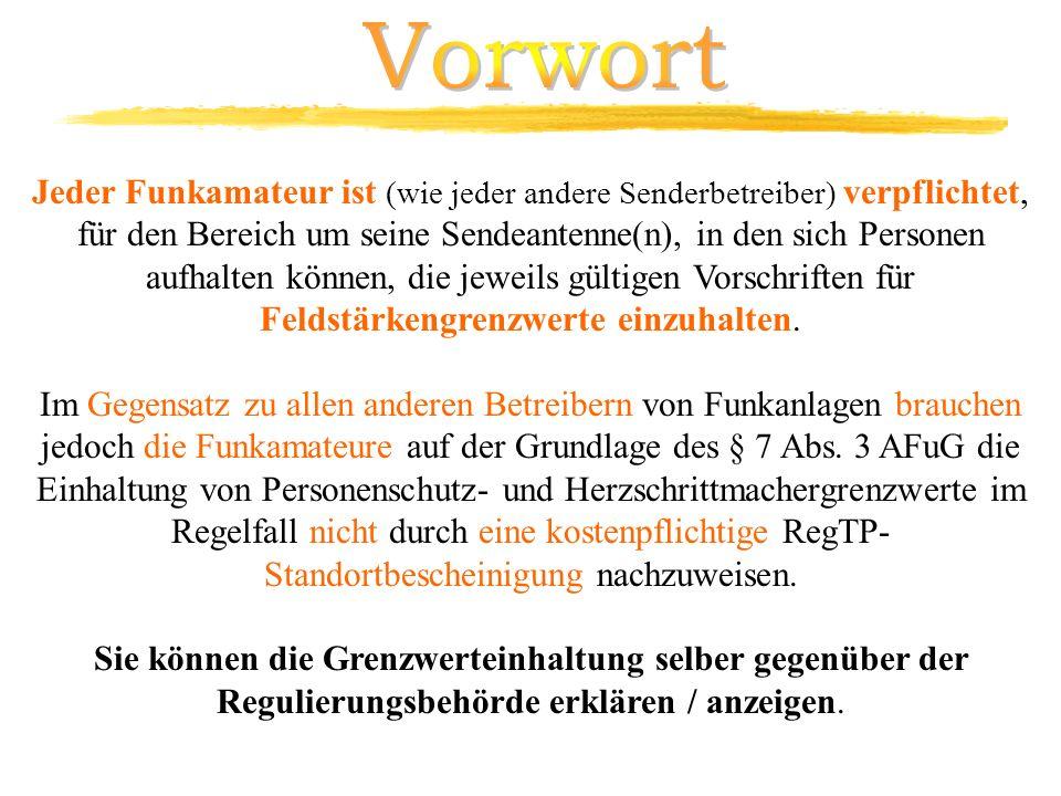 BEMFV (Verordnung über das Nachweisverfahren zur Begrenzung elektromagnetischer Felder ) AfuG § 7 Schutzanforderungen AfuV § 15 Technische Anforderungen an die Amateurfunkstelle TKZulV Telekommunikationszulassungsverordnung EMVG 98