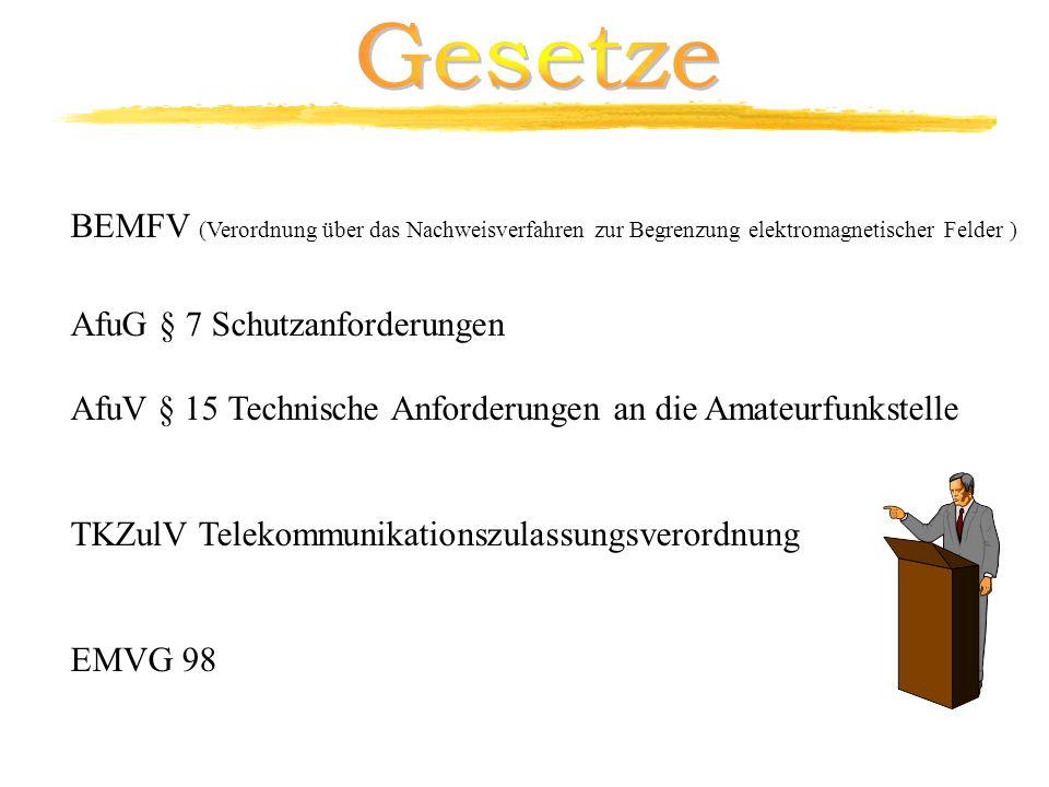 BEMFV (Verordnung über das Nachweisverfahren zur Begrenzung elektromagnetischer Felder ) AfuG § 7 Schutzanforderungen AfuV § 15 Technische Anforderung