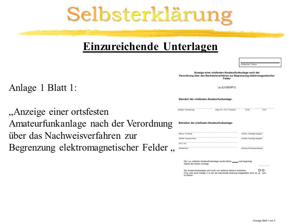 Anlage 1 Blatt 1: Anzeige einer ortsfesten Amateurfunkanlage nach der Verordnung über das Nachweisverfahren zur Begrenzung elektromagnetischer Felder