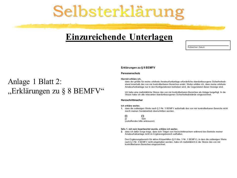 Anlage 1 Blatt 2: Erklärungen zu § 8 BEMFV Einzureichende Unterlagen