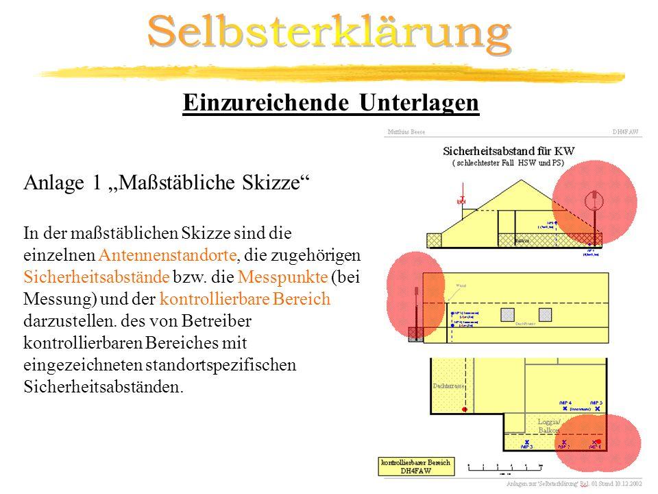 Anlage 1 Maßstäbliche Skizze In der maßstäblichen Skizze sind die einzelnen Antennenstandorte, die zugehörigen Sicherheitsabstände bzw. die Messpunkte