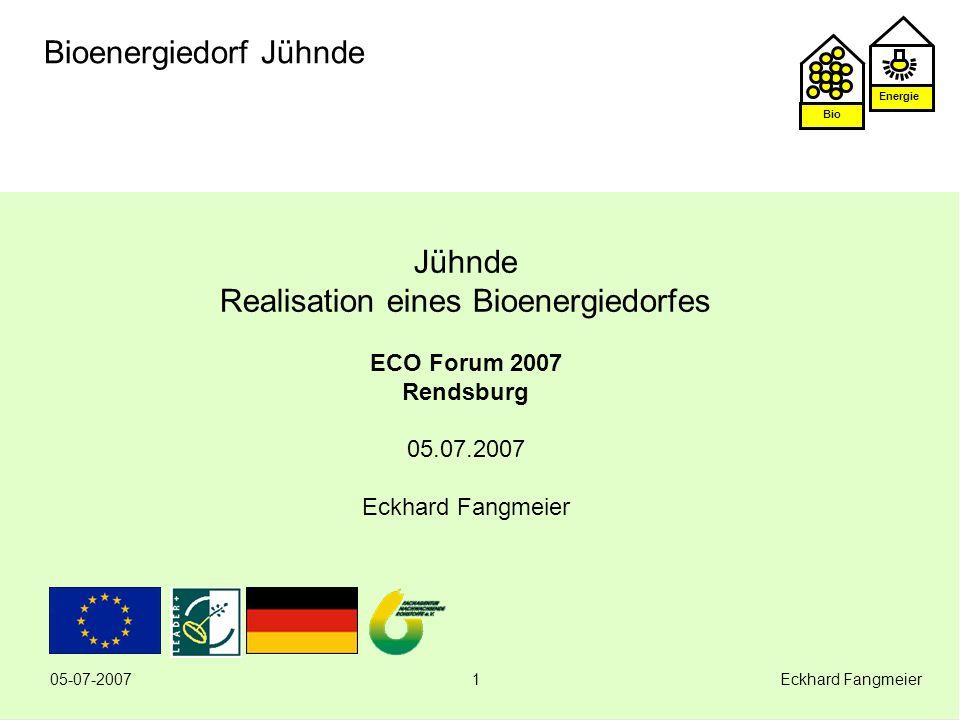 Energie Bio 05-07-2007 Eckhard Fangmeier12 Bioenergiedorf Jühnde Erfahrungen Nahwärmenetz Wärmeverteilung sichergestellt Temperaturspreitzung ok Druckverhältnisse kein Problem Leckage-Erkennungs- System bewährt sich