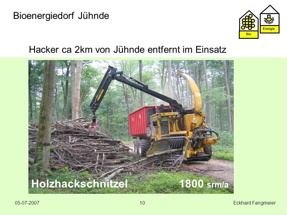 Energie Bio 05-07-2007 Eckhard Fangmeier10 Bioenergiedorf Jühnde Hacker ca 2km von Jühnde entfernt im Einsatz Holzhackschnitzel 1800 srm/a