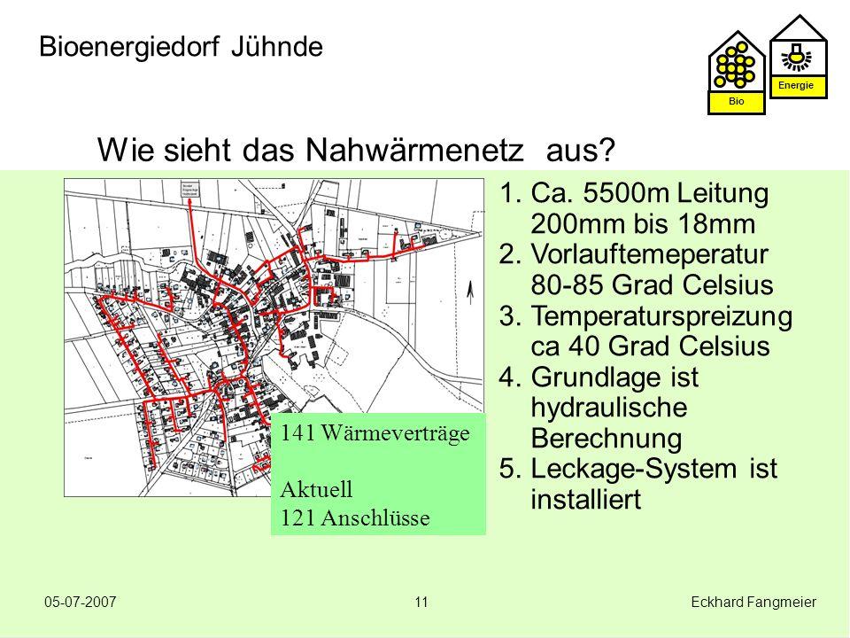 Energie Bio 05-07-2007 Eckhard Fangmeier11 Bioenergiedorf Jühnde Wie sieht das Nahwärmenetz aus? 1.Ca. 5500m Leitung 200mm bis 18mm 2.Vorlauftemeperat
