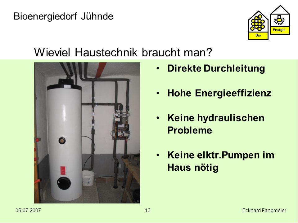 Energie Bio 05-07-2007 Eckhard Fangmeier13 Bioenergiedorf Jühnde Wieviel Haustechnik braucht man? Direkte Durchleitung Hohe Energieeffizienz Keine hyd