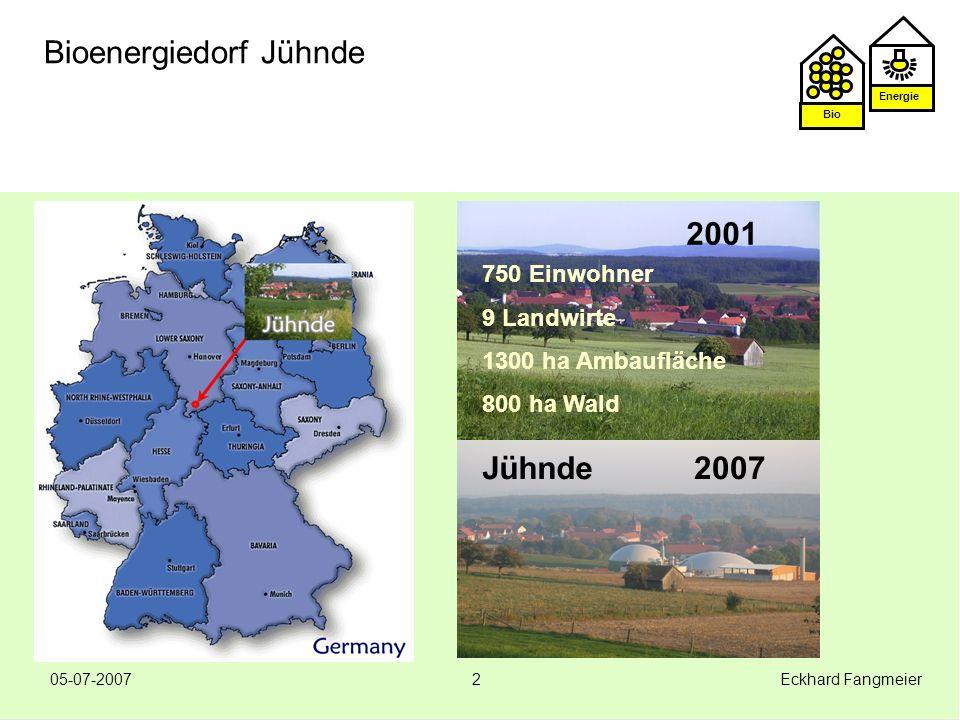 Energie Bio 05-07-2007 Eckhard Fangmeier3 Bioenergiedorf Jühnde Das Vorhaben Bioenergiedorf Idee kam vom IZNE/Göttingen: Dörfer können sich eigenständig mit Energie (Wärme und Strom) auf Basis von Biomasse versorgen.