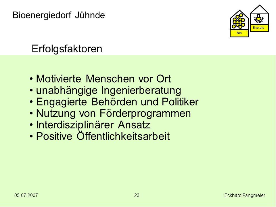 Energie Bio 05-07-2007 Eckhard Fangmeier23 Bioenergiedorf Jühnde Erfolgsfaktoren Motivierte Menschen vor Ort unabhängige Ingenierberatung Engagierte B