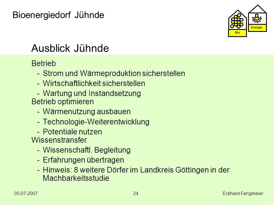 Energie Bio 05-07-2007 Eckhard Fangmeier24 Bioenergiedorf Jühnde Ausblick Jühnde Betrieb -Strom und Wärmeproduktion sicherstellen -Wirtschaftlichkeit