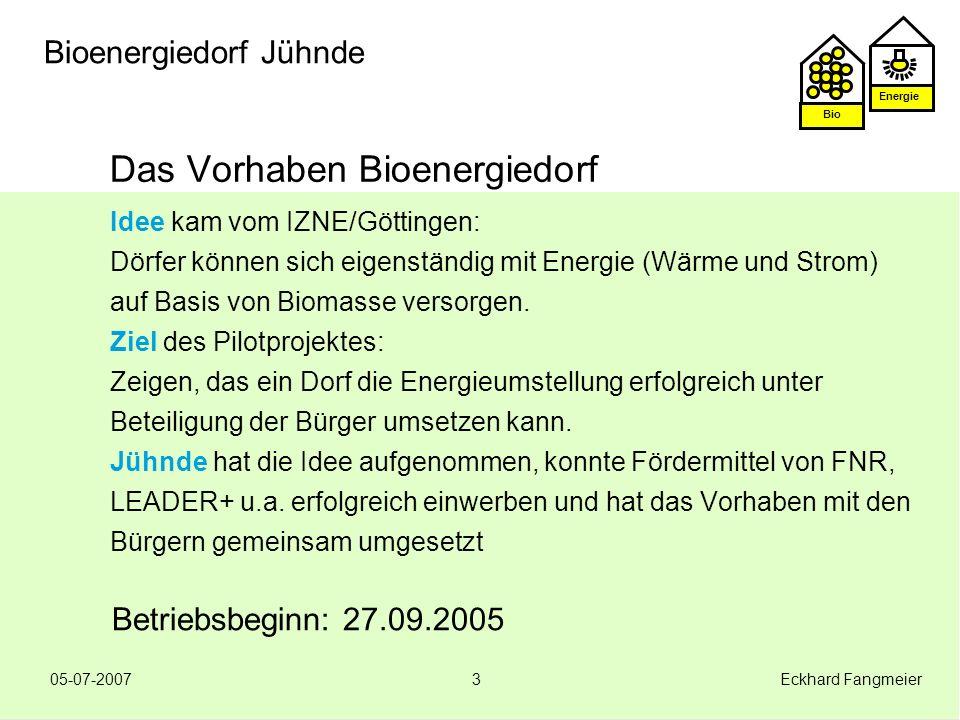 Energie Bio 05-07-2007 Eckhard Fangmeier24 Bioenergiedorf Jühnde Ausblick Jühnde Betrieb -Strom und Wärmeproduktion sicherstellen -Wirtschaftlichkeit sicherstellen -Wartung und Instandsetzung Betrieb optimieren -Wärmenutzung ausbauen -Technologie-Weiterentwicklung -Potentiale nutzen Wissenstransfer -Wissenschaftl.