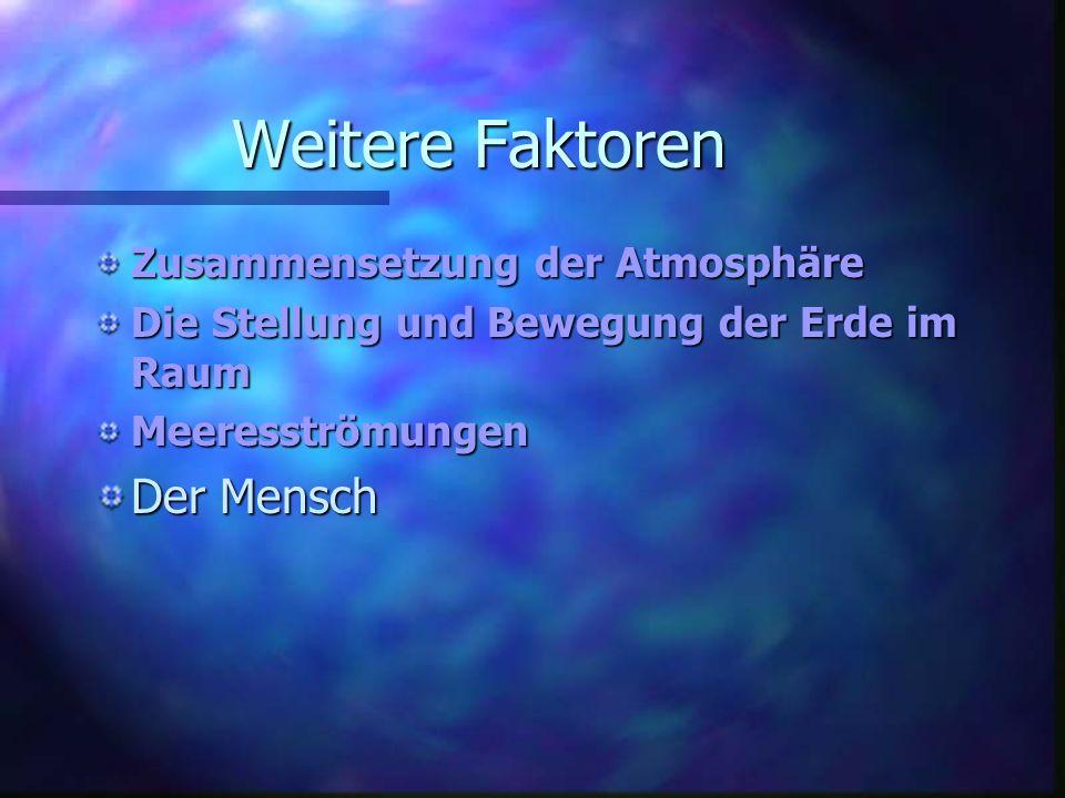 Weitere Faktoren Zusammensetzung der Atmosphäre Die Stellung und Bewegung der Erde im Raum Meeresströmungen Der Mensch