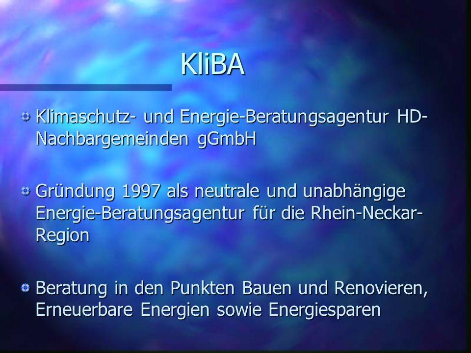 KliBA Klimaschutz- und Energie-Beratungsagentur HD- Nachbargemeinden gGmbH Gründung 1997 als neutrale und unabhängige Energie-Beratungsagentur für die