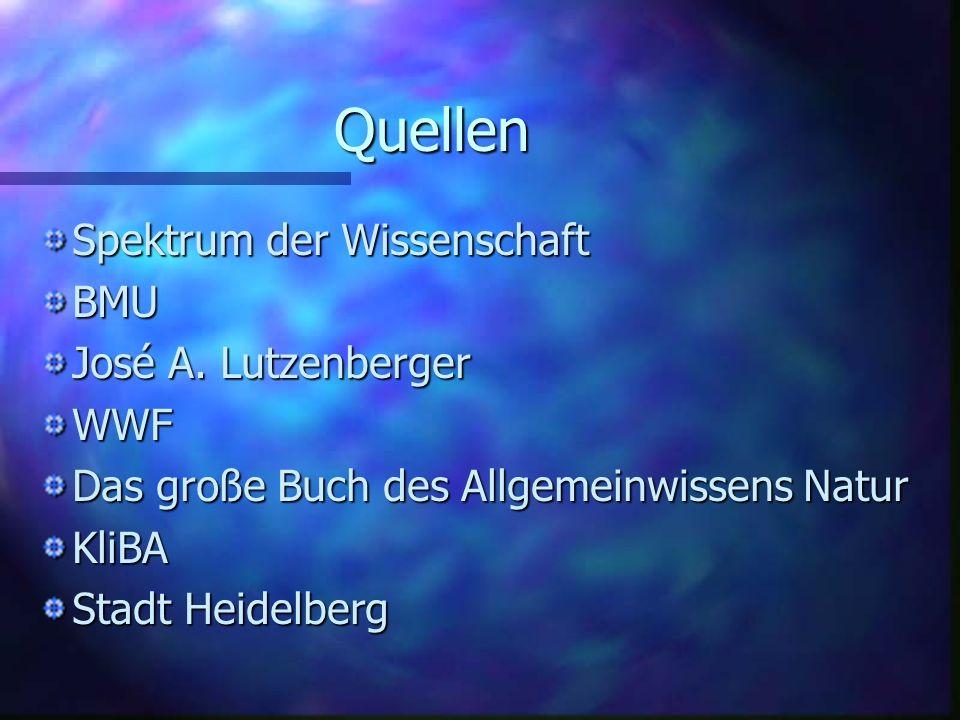 Quellen Spektrum der Wissenschaft BMU José A. Lutzenberger WWF Das große Buch des Allgemeinwissens Natur KliBA Stadt Heidelberg