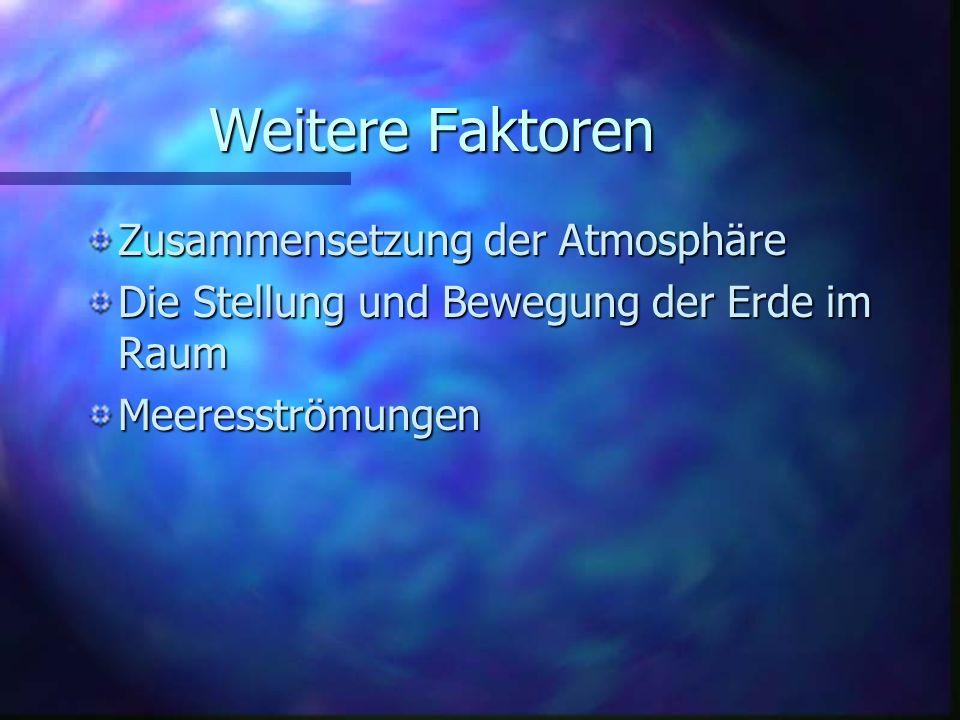 Weitere Faktoren Zusammensetzung der Atmosphäre Die Stellung und Bewegung der Erde im Raum Meeresströmungen