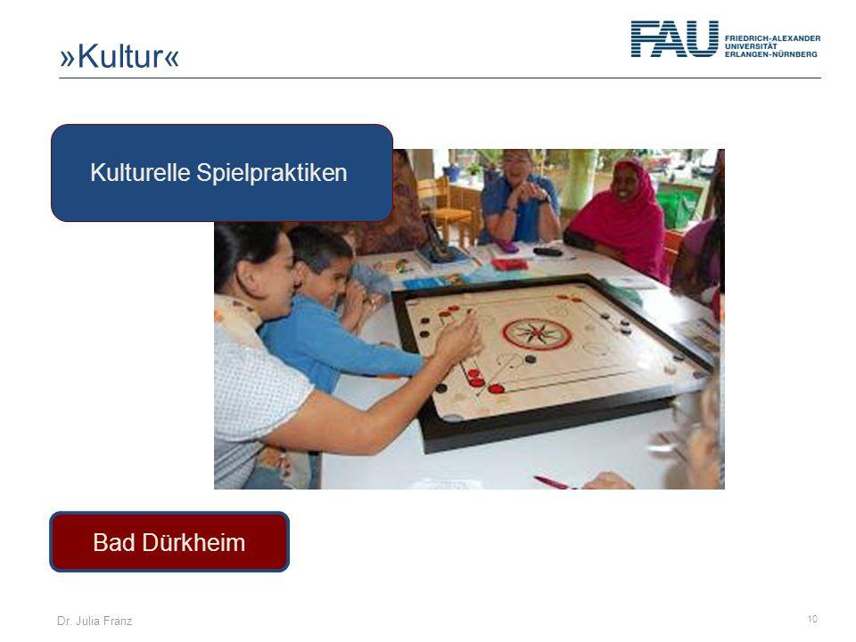 Dr. Julia Franz 10 Bad Dürkheim Kulturelle Spielpraktiken »Kultur«