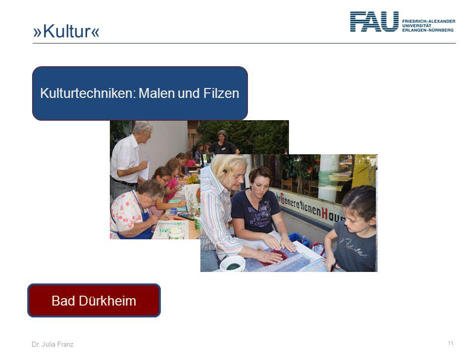 Dr. Julia Franz 11 Bad Dürkheim Kulturtechniken: Malen und Filzen »Kultur«