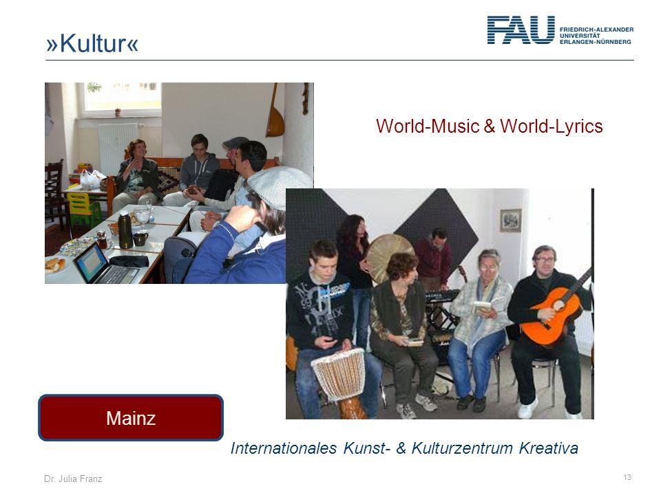 Dr. Julia Franz 13 Mainz Internationales Kunst- & Kulturzentrum Kreativa »Kultur« World-Music & World-Lyrics