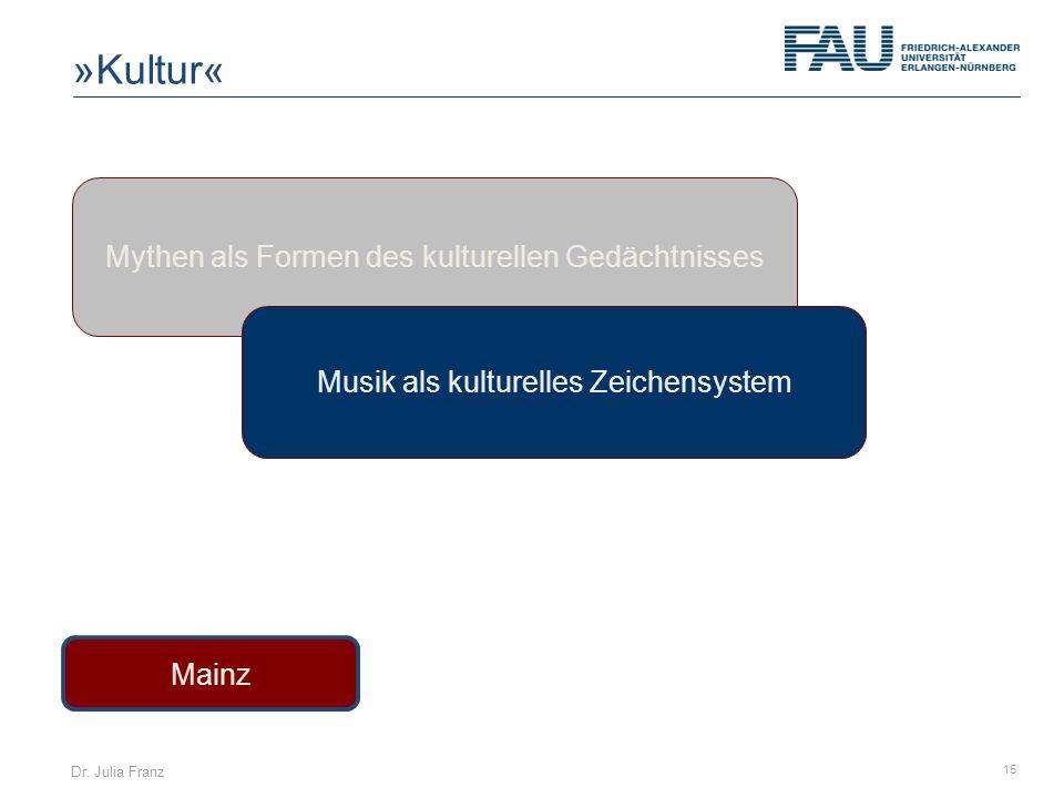 Dr. Julia Franz 15 Mainz Mythen als Formen des kulturellen Gedächtnisses Musik als kulturelles Zeichensystem »Kultur«