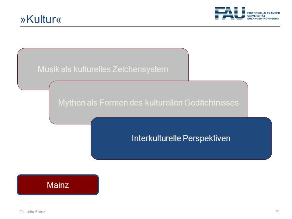 Dr. Julia Franz 16 Musik als kulturelles Zeichensystem Mainz Mythen als Formen des kulturellen Gedächtnisses Interkulturelle Perspektiven »Kultur«