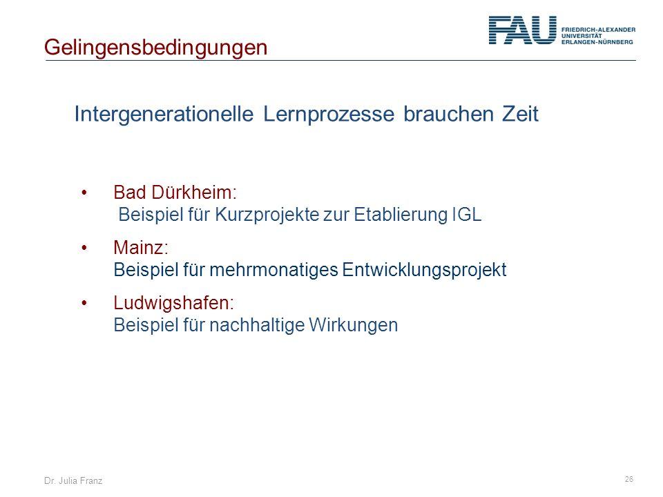Dr. Julia Franz 26 Intergenerationelle Lernprozesse brauchen Zeit Gelingensbedingungen Bad Dürkheim: Beispiel für Kurzprojekte zur Etablierung IGL Mai