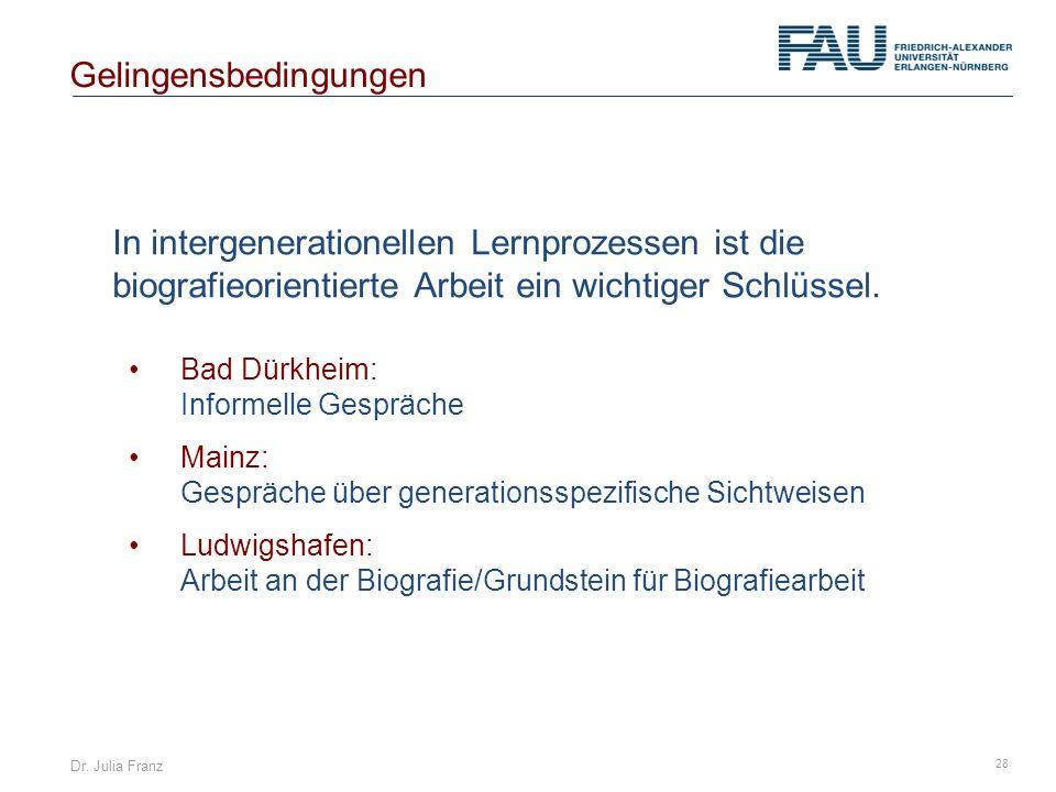 Dr. Julia Franz 28 In intergenerationellen Lernprozessen ist die biografieorientierte Arbeit ein wichtiger Schlüssel. Gelingensbedingungen Bad Dürkhei
