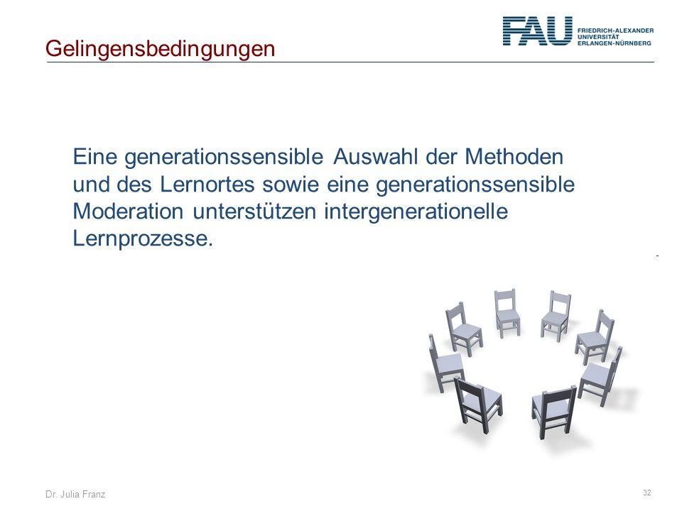 Dr. Julia Franz 32 Eine generationssensible Auswahl der Methoden und des Lernortes sowie eine generationssensible Moderation unterstützen intergenerat
