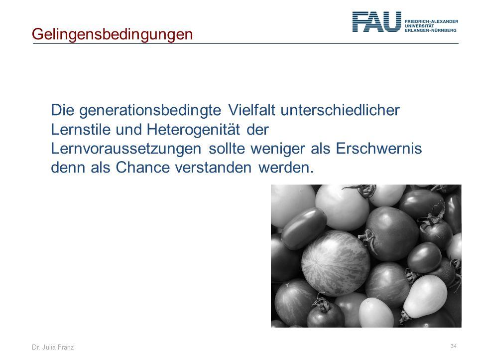 Dr. Julia Franz 34 Die generationsbedingte Vielfalt unterschiedlicher Lernstile und Heterogenität der Lernvoraussetzungen sollte weniger als Erschwern