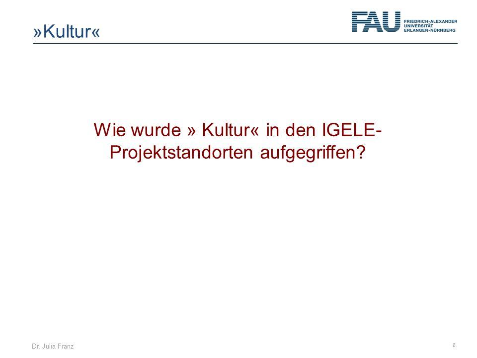 Dr. Julia Franz 8 Wie wurde » Kultur« in den IGELE- Projektstandorten aufgegriffen? »Kultur«