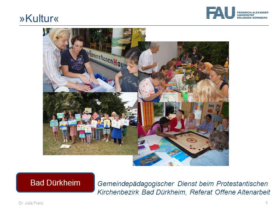Dr. Julia Franz 9 Bad Dürkheim Gemeindepädagogischer Dienst beim Protestantischen Kirchenbezirk Bad Dürkheim, Referat Offene Altenarbeit »Kultur«