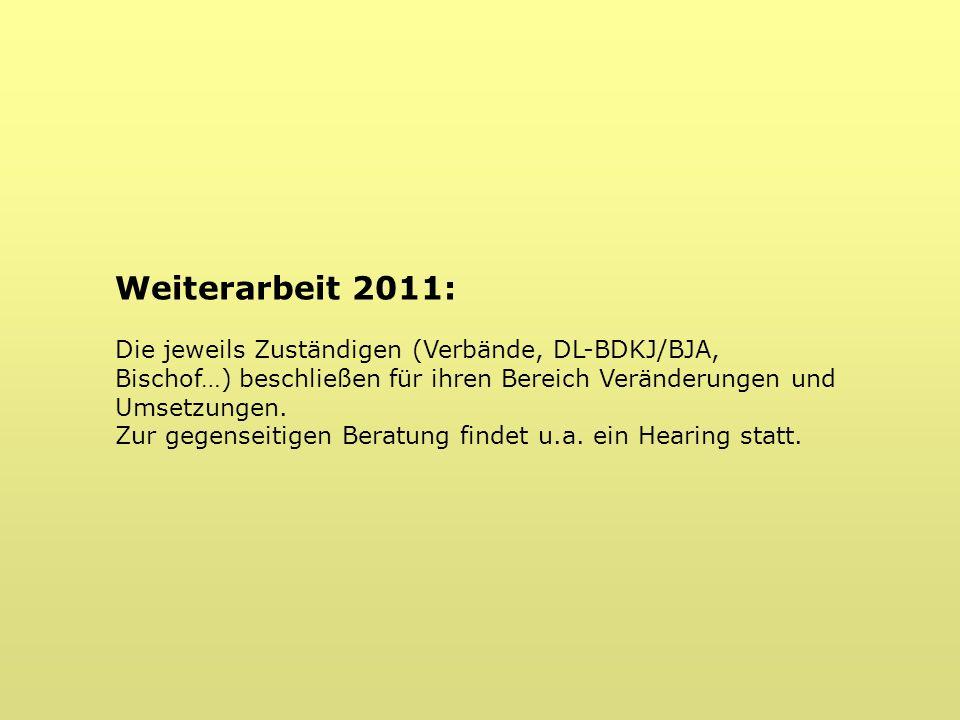 Weiterarbeit 2011: Die jeweils Zuständigen (Verbände, DL-BDKJ/BJA, Bischof…) beschließen für ihren Bereich Veränderungen und Umsetzungen.