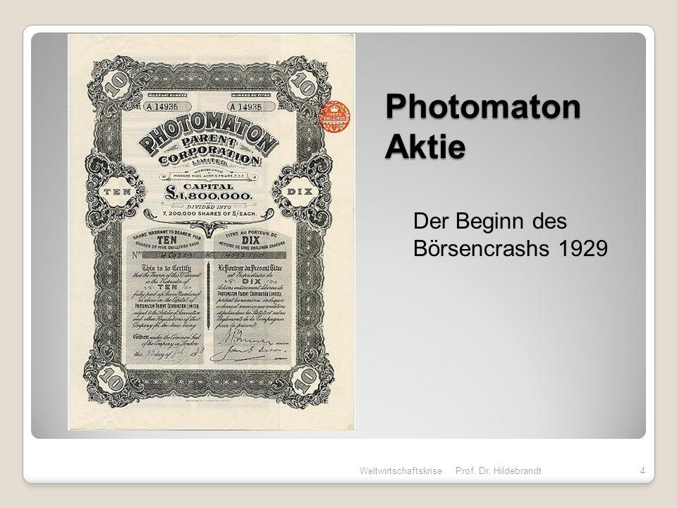 Börsencrash 23.10.1929 – 28.10.1929 Weltwirtschaftskrise Prof.