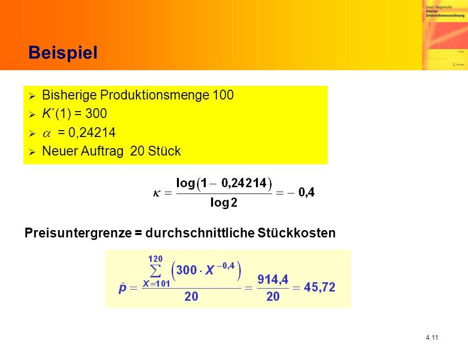 4.11 Beispiel Bisherige Produktionsmenge 100 K´(1) = 300 = 0,24214 Neuer Auftrag 20 Stück Preisuntergrenze = durchschnittliche Stückkosten