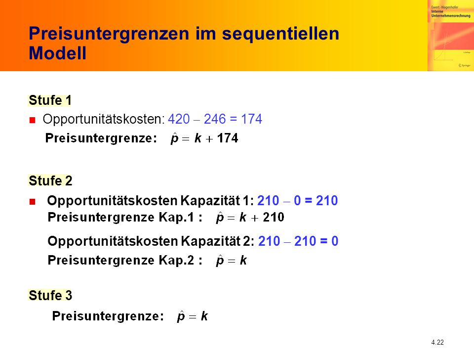 4.22 Preisuntergrenzen im sequentiellen Modell Stufe 1 Opportunitätskosten: 420 246 = 174 Stufe 2 Opportunitätskosten Kapazität 1: 210 0 = 210 Opportu