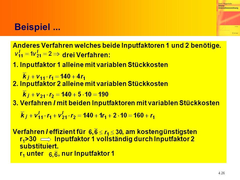 4.26 Beispiel... Anderes Verfahren welches beide Inputfaktoren 1 und 2 benötige. drei Verfahren: 1. Inputfaktor 1 alleine mit variablen Stückkosten 2.