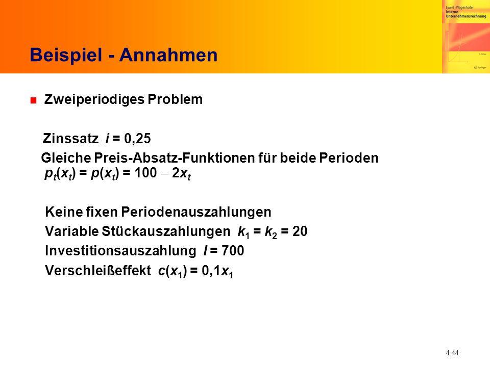 4.44 Beispiel - Annahmen n Zweiperiodiges Problem Zinssatz i = 0,25 Gleiche Preis-Absatz-Funktionen für beide Perioden p t (x t ) = p(x t ) = 100 2x t