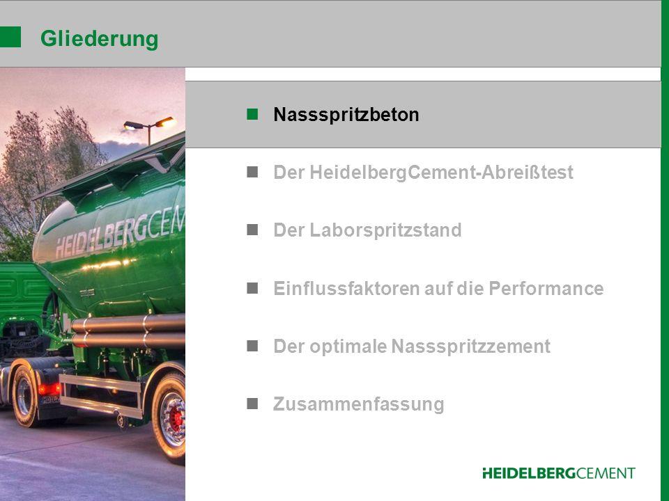 Nassspritzbeton Der HeidelbergCement-Abreißtest Der Laborspritzstand Einflussfaktoren auf die Performance Der optimale Nassspritzzement Zusammenfassung Gliederung