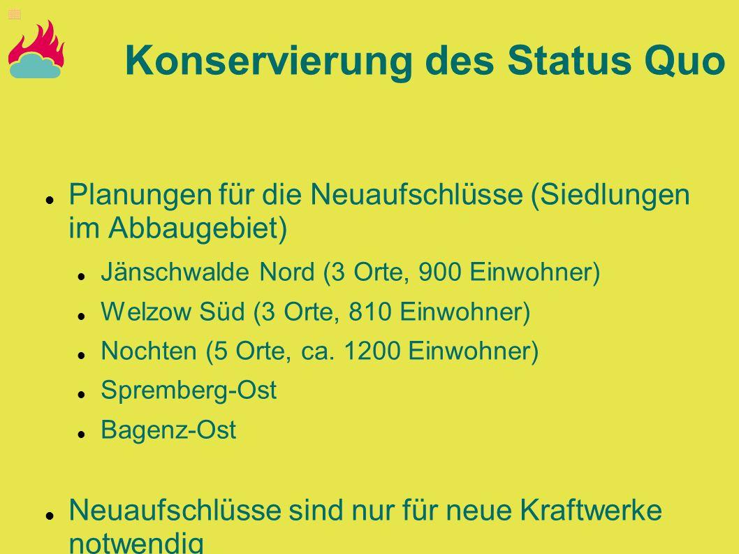 Planungen für die Neuaufschlüsse (Siedlungen im Abbaugebiet) Jänschwalde Nord (3 Orte, 900 Einwohner) Welzow Süd (3 Orte, 810 Einwohner) Nochten (5 Or