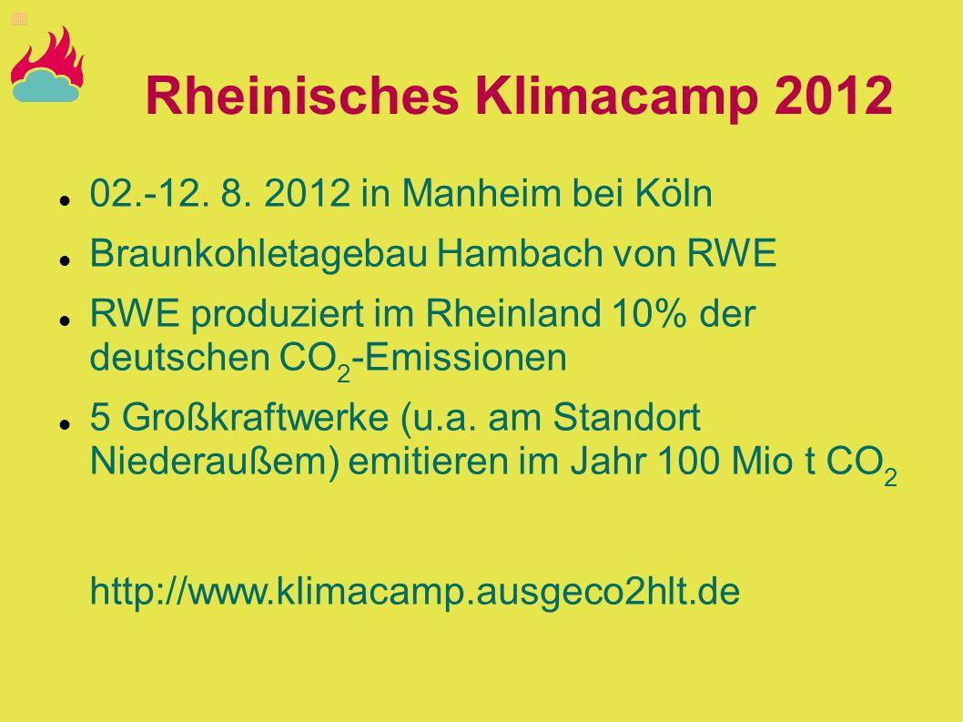 Rheinisches Klimacamp 2012 02.-12. 8. 2012 in Manheim bei Köln Braunkohletagebau Hambach von RWE RWE produziert im Rheinland 10% der deutschen CO 2 -E