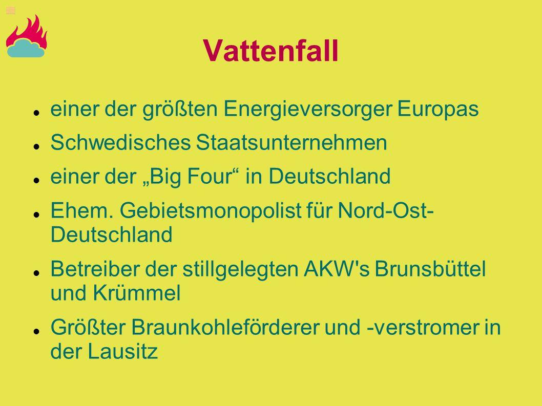 Vattenfall einer der größten Energieversorger Europas Schwedisches Staatsunternehmen einer der Big Four in Deutschland Ehem. Gebietsmonopolist für Nor