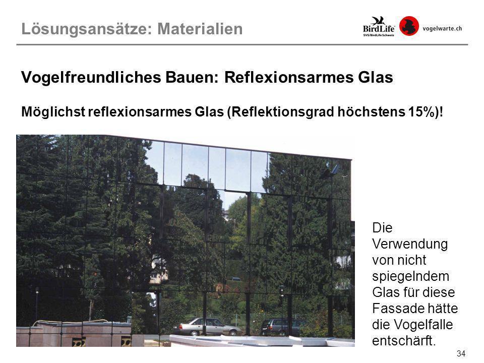 34 Vogelfreundliches Bauen: Reflexionsarmes Glas Möglichst reflexionsarmes Glas (Reflektionsgrad höchstens 15%)! Lösungsansätze: Materialien Die Verwe