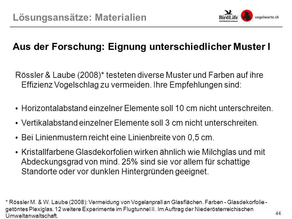 44 Rössler & Laube (2008)* testeten diverse Muster und Farben auf ihre Effizienz Vogelschlag zu vermeiden. Ihre Empfehlungen sind: Horizontalabstand e