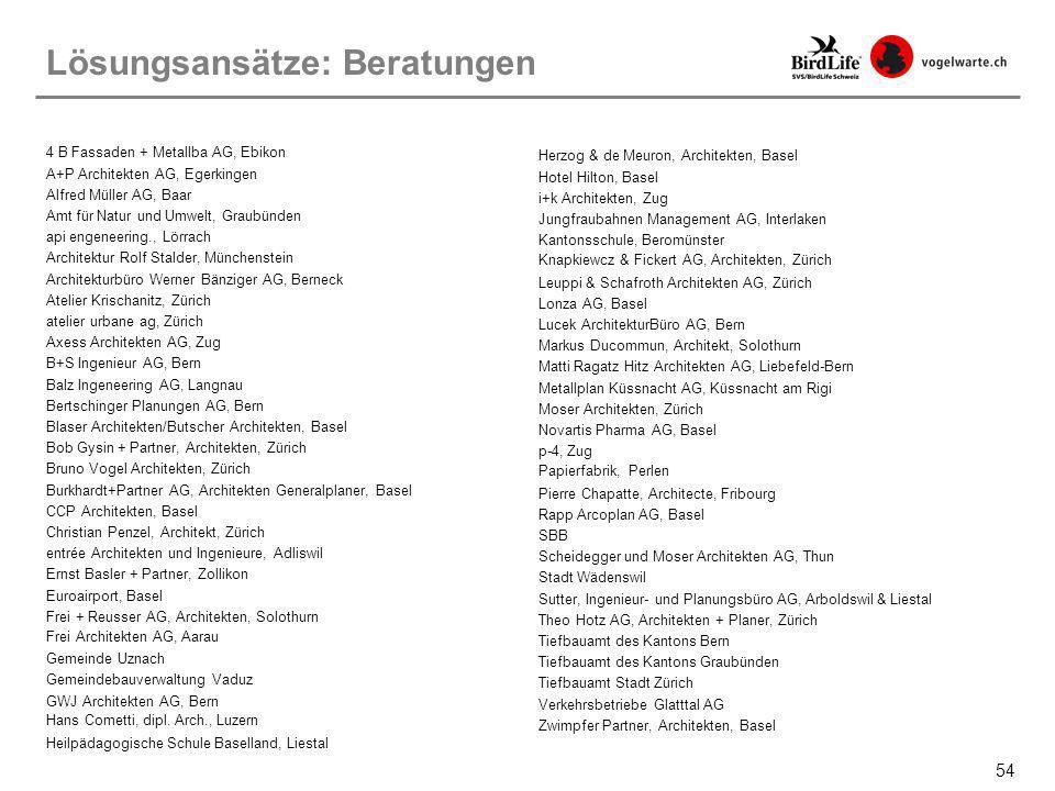54 Lösungsansätze: Beratungen 4 B Fassaden + Metallba AG, Ebikon A+P Architekten AG, Egerkingen Alfred Müller AG, Baar Amt für Natur und Umwelt, Graub
