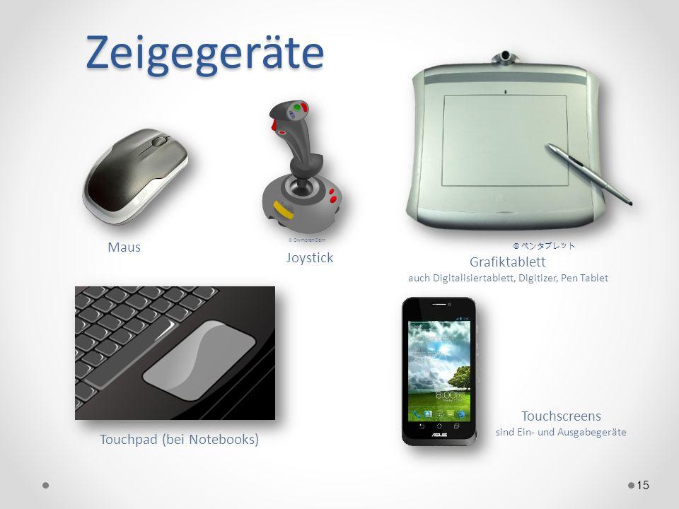 Zeigegeräte 15 Maus Grafiktablett auch Digitalisiertablett, Digitizer, Pen Tablet Touchpad (bei Notebooks) © Touchscreens sind Ein- und Ausgabegeräte