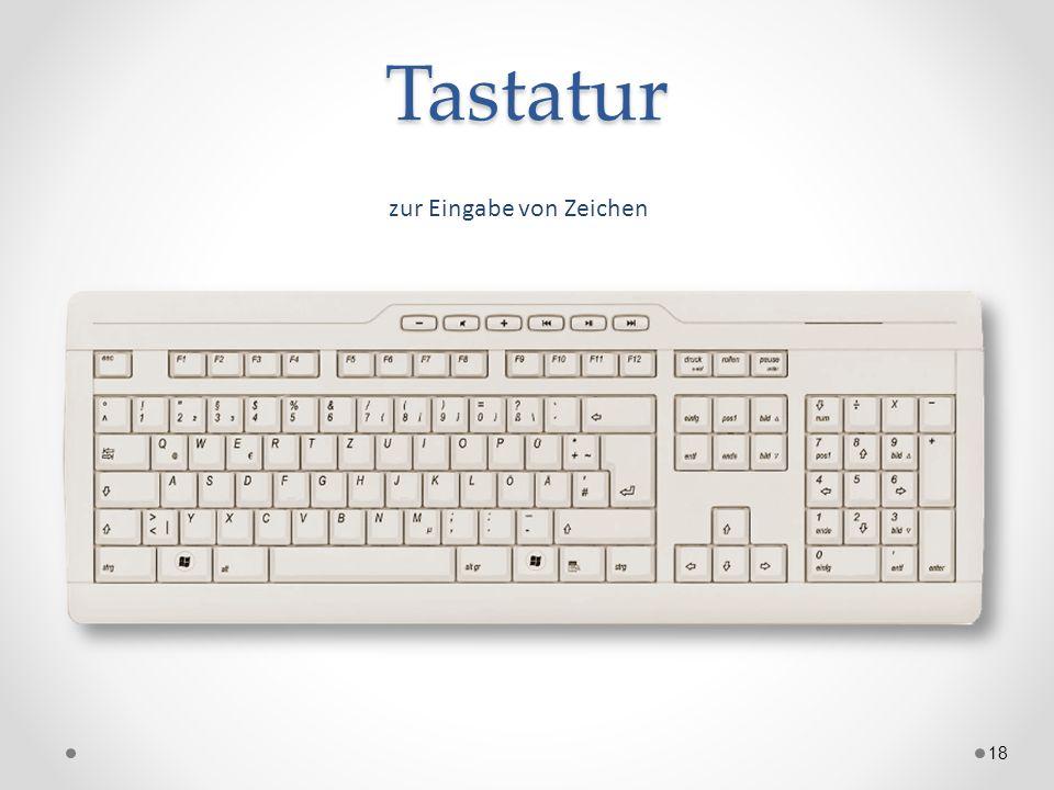 Tastatur 18 zur Eingabe von Zeichen