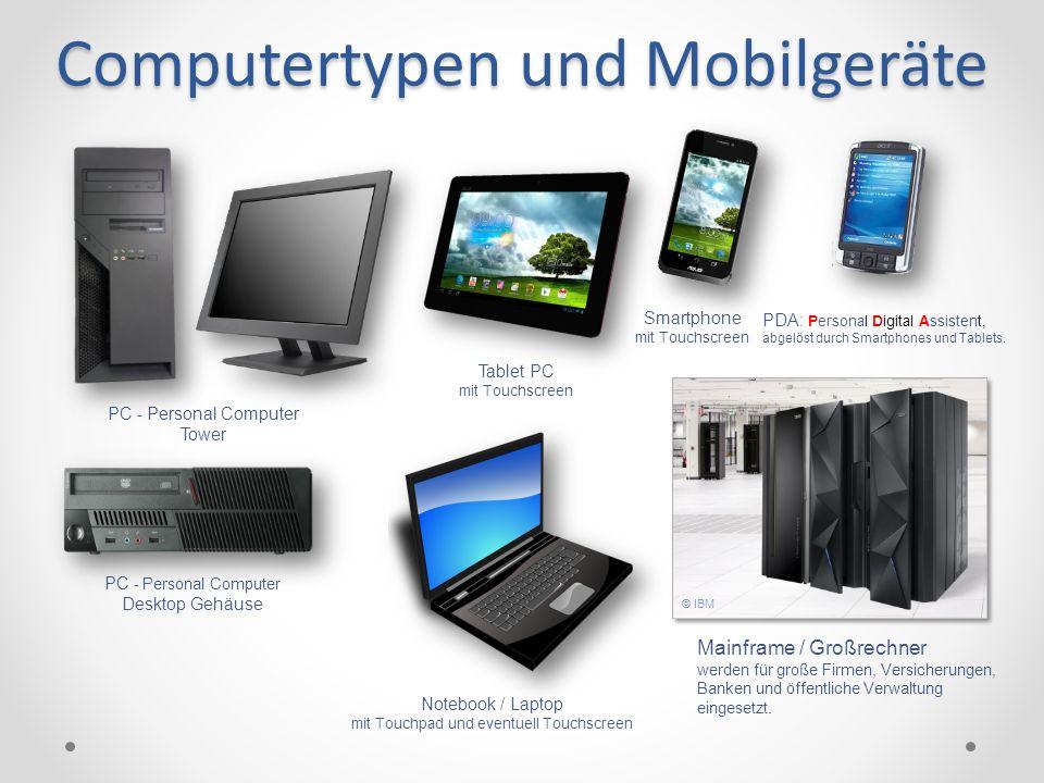 Computertypen und Mobilgeräte Mainframe / Großrechner werden für große Firmen, Versicherungen, Banken und öffentliche Verwaltung eingesetzt. PC - Pers