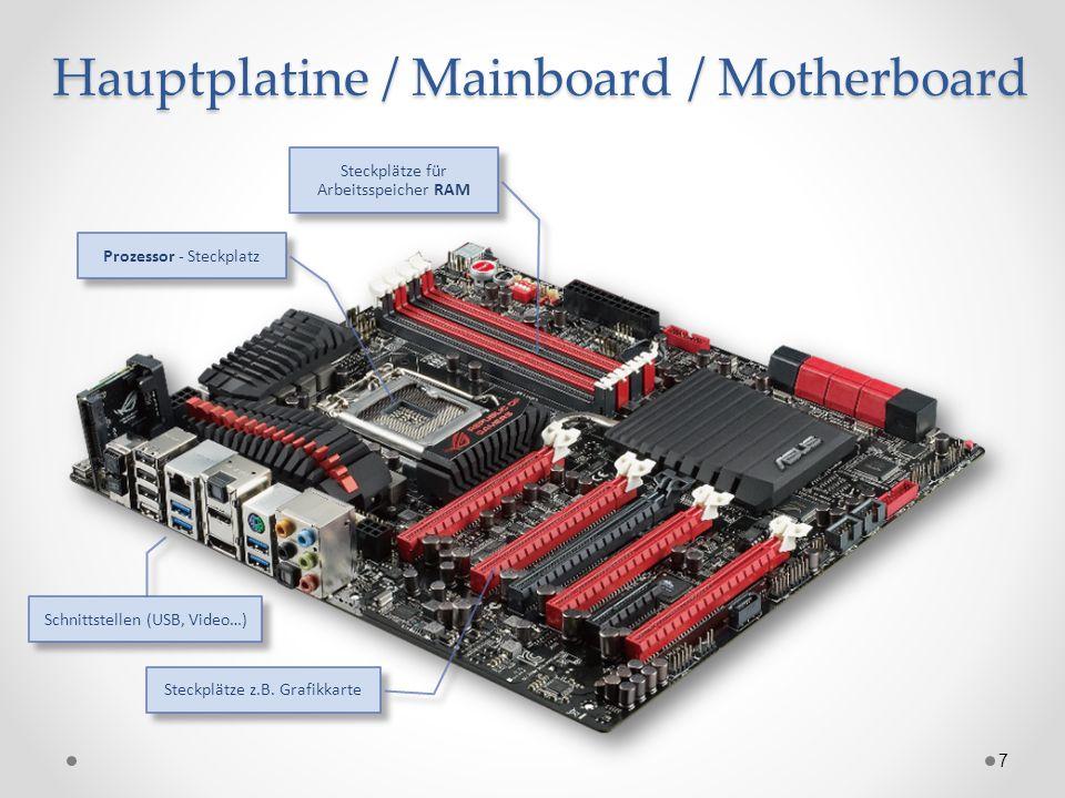 Hauptplatine / Mainboard / Motherboard 7 Steckplätze für Arbeitsspeicher RAM Prozessor - Steckplatz Steckplätze z.B. Grafikkarte Schnittstellen (USB,