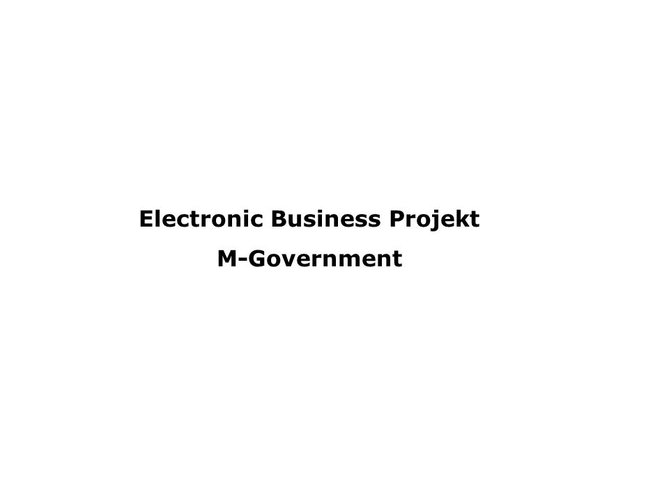 Electronic Business Projekt M-Government